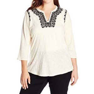 Lucky Brand Embroidered Long Sleeve Top Boho 2X